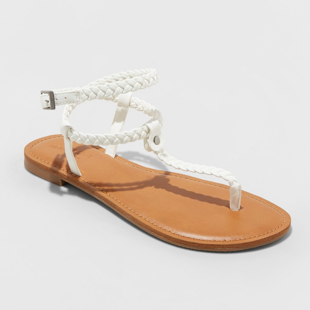 Women's Larissa Braided Ankle Wrap Sandal - Universal Thread White 5.5