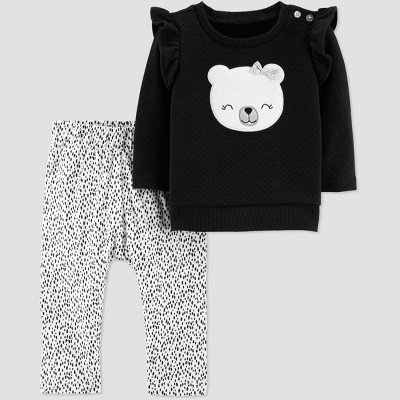 Baby Girls' 2pc Quilted Ruffle Panda Set - Just One You® made by carter's Black/White 6M