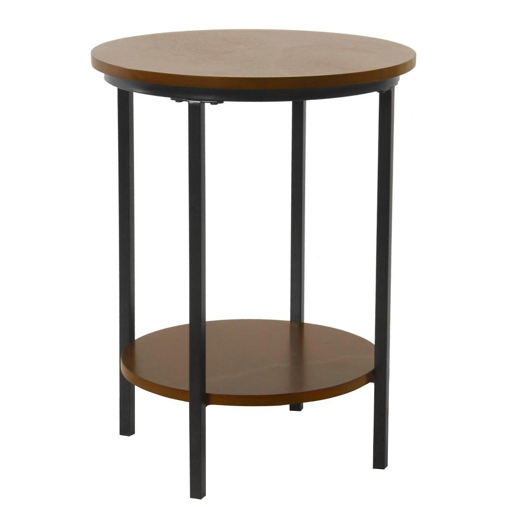 Large Round Wood Accent Table with Shelf Storage Dark Walnut Brown - HomePop was $99.99 now $74.99 (25.0% off)