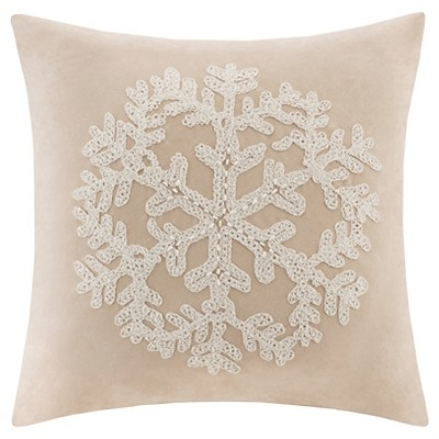 "20""x20"" Oversize Holiday Embroidered Snowflake Suede Square Throw Pillow Tan"