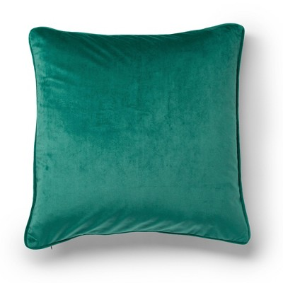 "20""x20"" Sybil Color block Velvet Decorative Throw Pillow Biscay Bay/Golden Olive - SureFit"
