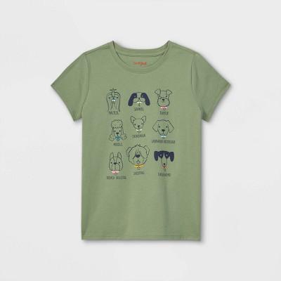 Girls' 'Pups' Short Sleeve Graphic T-Shirt - Cat & Jack™ Army Green