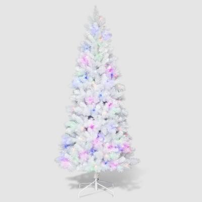 Philips 7ft Pre-Lit Slim White Iridescent Tinsel Douglas Fir Artificial Tree LED Rainbow Lights