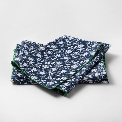 Set of 4 Metallic Floral Napkin Blue - Threshold™