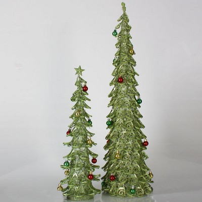 Sterling Set of 2 Lime Green Glitter Mesh Artificial Christmas Tree Tabletop Decors 3'