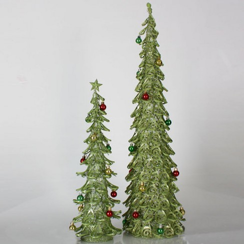 Christmas Tree With Mesh.Sterling Set Of 2 Christmas Brights Lime Green Glitter Mesh Christmas Trees 2 3