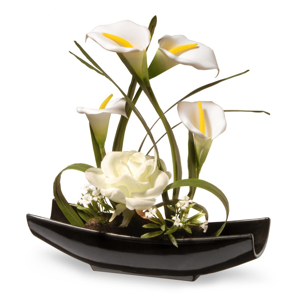 "Image of ""11"""" White Rose and Calla Lily Flowers - National Tree Company, Green White"""