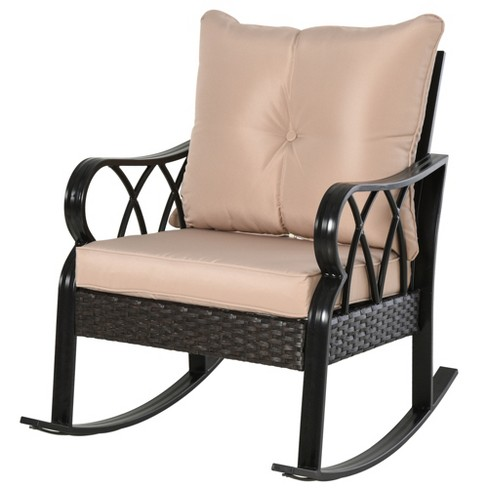 Outsunny Outdoor Aluminum Framed Rattan, Outdoor Rocking Chair Cushions Target