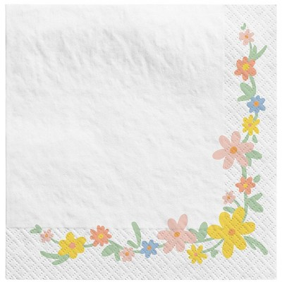 30ct Floral Disposable Beverage Napkins - Spritz™