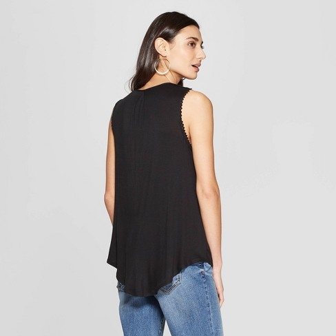 96f4dcca73a904 Women s Sleeveless V-Neck Blouse With Tassels And Pintucking - Knox Rose™  Black   Target