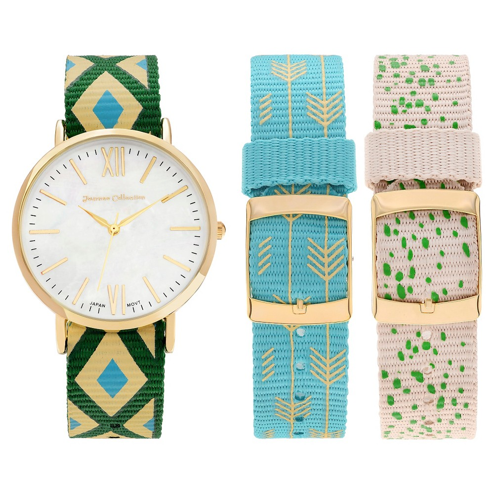 Women's Journee Collection Round Face Interchangeable and Reversible 3 Nylon Strap Watch Set - Gold