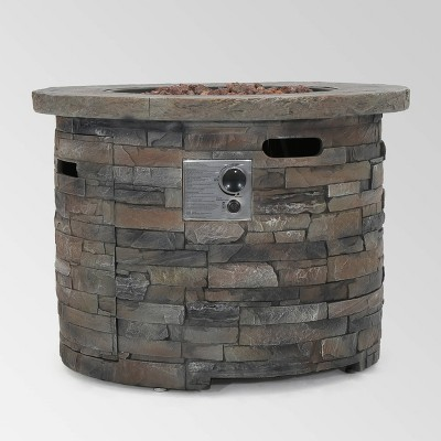 Blaeberry Outdoor Circular Fire Pit Natural Stone - Christopher Knight Home