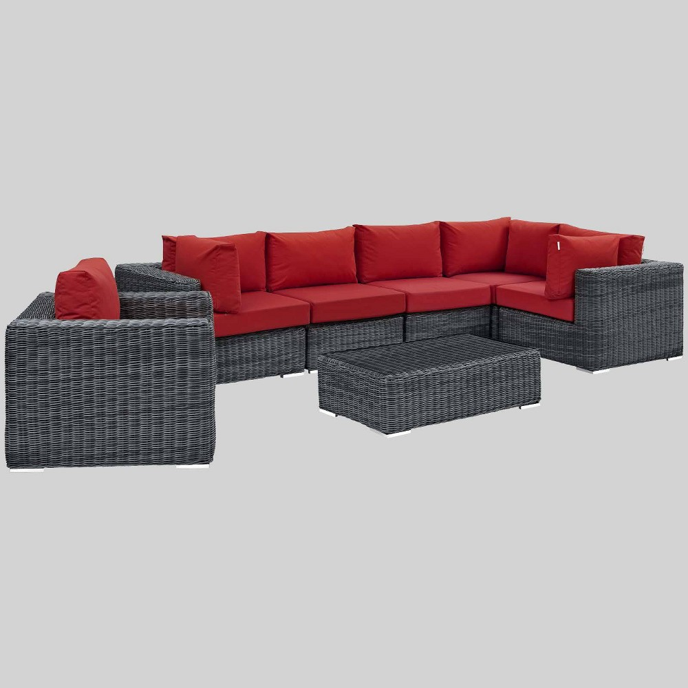 Summon 7pc Outdoor Patio Sectional Set with Sunbrella Fabric - Red - Modway