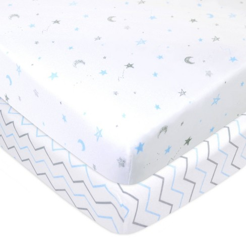 TL Care 100% Fitted Cotton Playard Sheet Star Zigzag Blue - 2 Pack - image 1 of 4