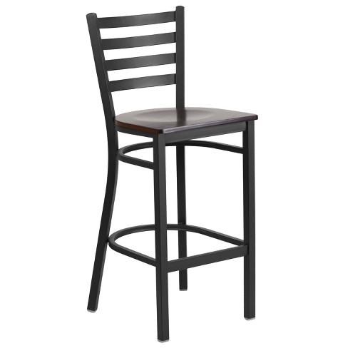 Flash Furniture Black Ladder Back Metal Restaurant Barstool - image 1 of 4