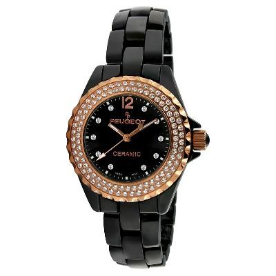 Peugeot Women's Black Genuine Ceramic Swiss Watch