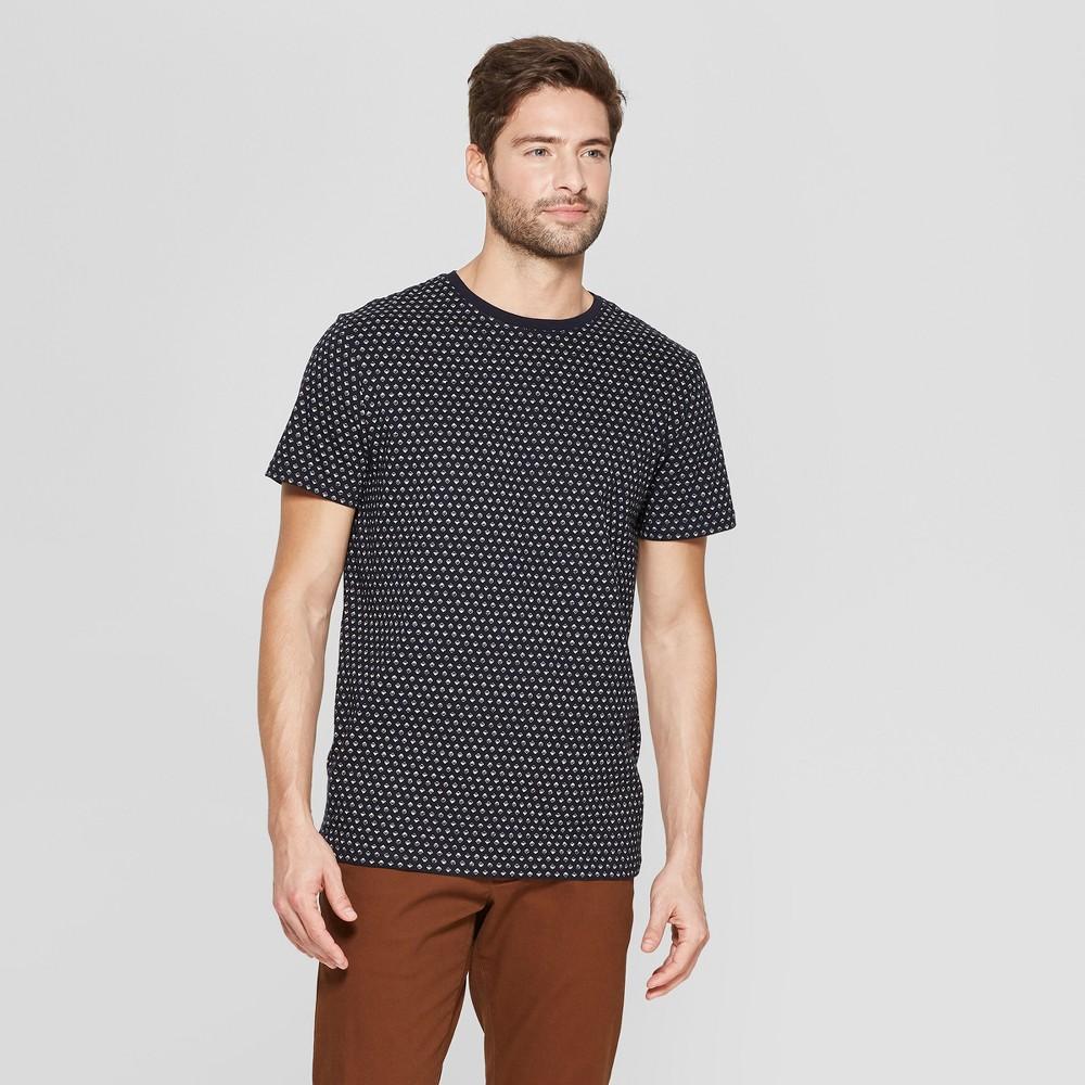 Men's Standard Fit Short Sleeve Novelty Crew T-Shirt - Goodfellow & Co Xavier Navy L
