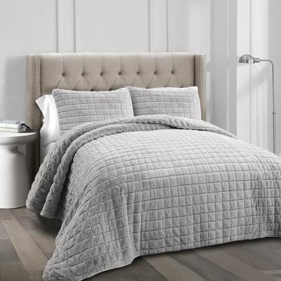 3pc Full/Queen Neeley Faux Fur Quilt Set Gray - Lush Decor