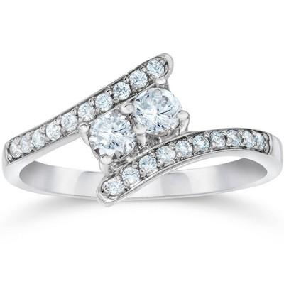Pompeii3 1/2CT Forever Us Diamond Two Stone Ring 10k White Gold