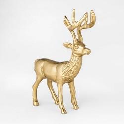 """9.5"""" x 8.5"""" Cast Brass Christmas Deer Figure Gold - Threshold™"""