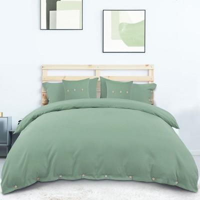 5 Pcs 110gsm Brushed Microfiber Solid Bedding Sets Queen Light Green - PiccoCasa
