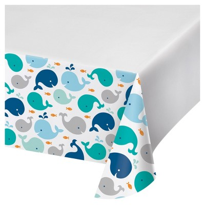Blue Baby Whale Plastic Tablecloth