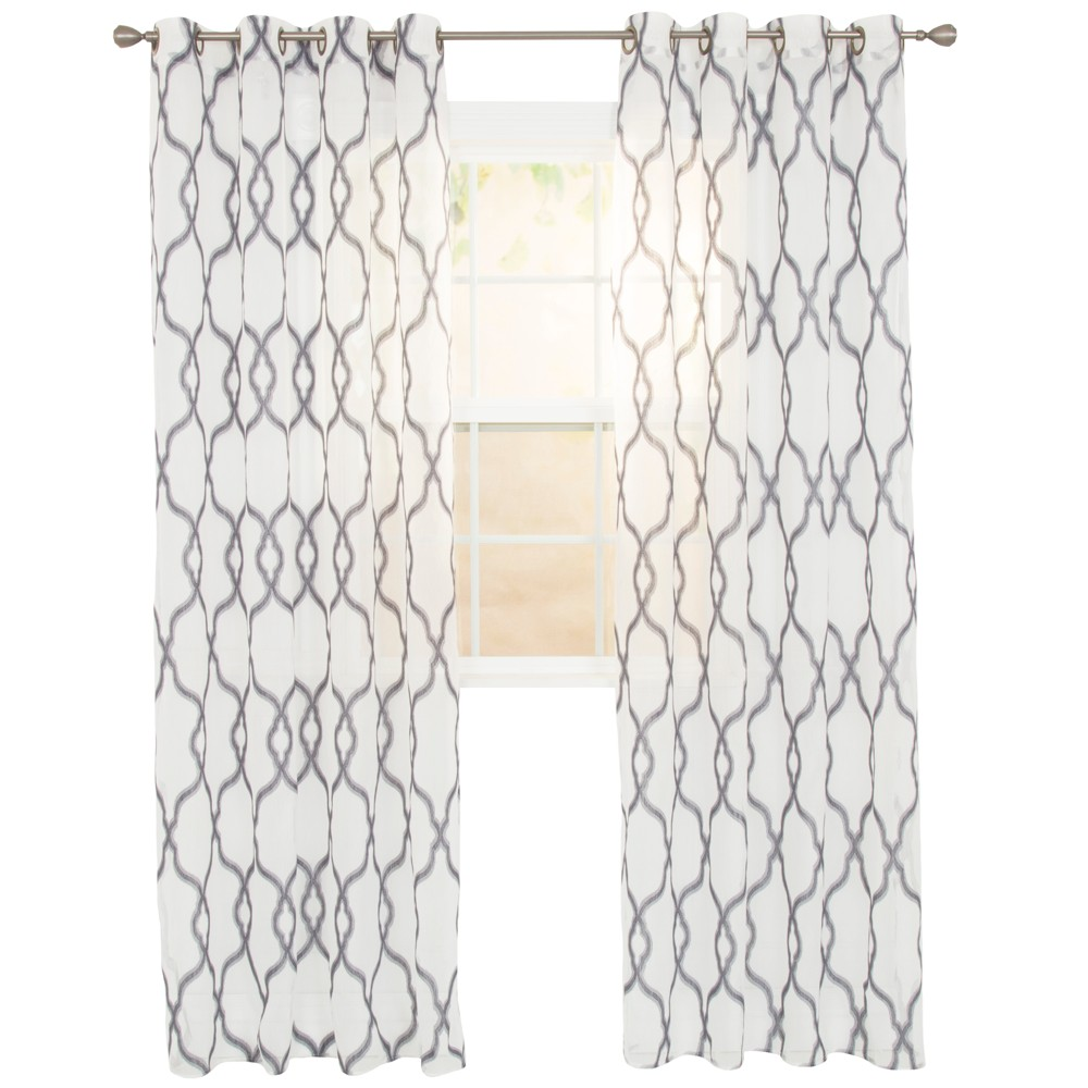 Elisa Embroidered Curtain Panel Charcoal (Grey) 95