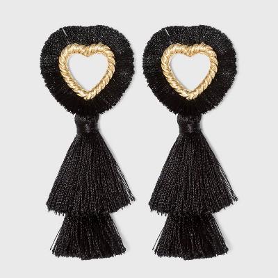 SUGARFIX by BaubleBar Fringe Heart Tassel Earrings