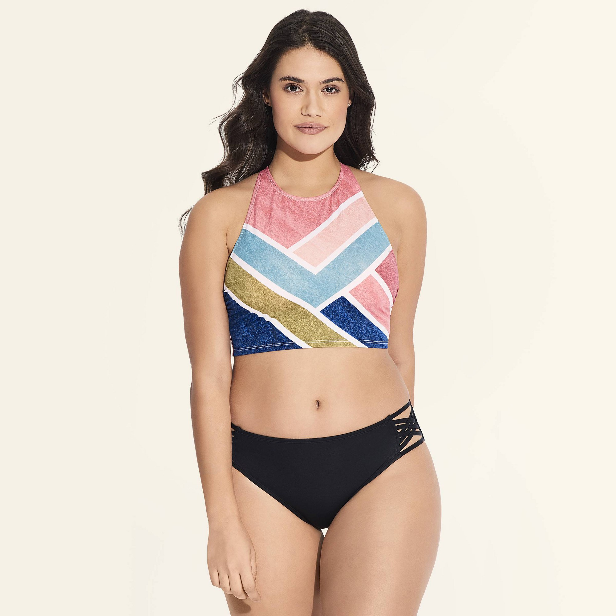 Women's Slimming Control High Neck Lace-Up Bikini Top - Beach Betty by Miracle Brands Stripe XL, MultiColored