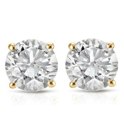 Pompeii3 1ct Round Diamond Stud Earrings in 14K Yellow Gold with Screw Backs