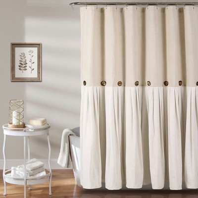 Lush Decor Solid Shower Curtain Beige