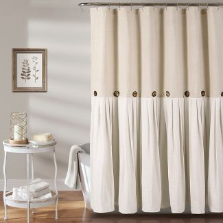 Linen Button Shower Curtain Beige - Lush Décor