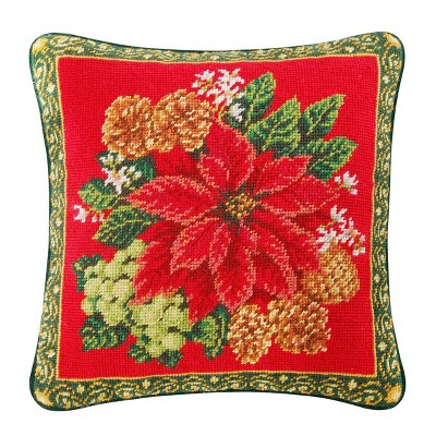C&F Home Poinsettia On Red Needlepoint Pillow