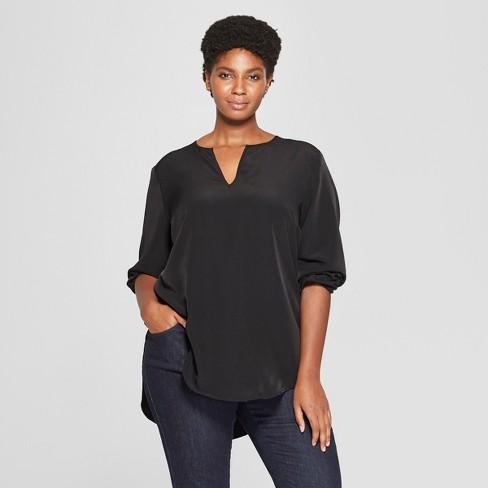 a271375c0c3 Women's Plus Size Long Sleeve Woven Popover - Ava & Viv™ : Target