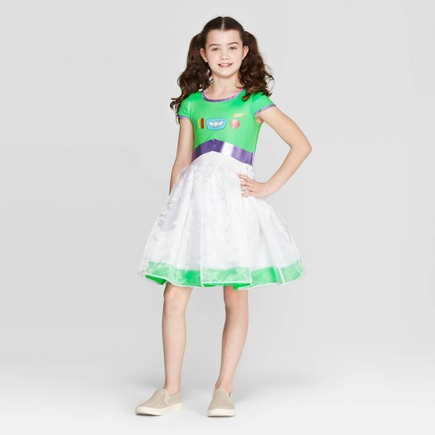 Girls' Toy Story Buzz Lightyear Dress - White/Green - image 1 of 3