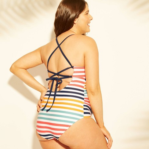 72d5098f9b608 Maternity Striped Tie Back One Piece Swimsuit - Isabel Maternity By Ingrid  & Isabel™ : Target
