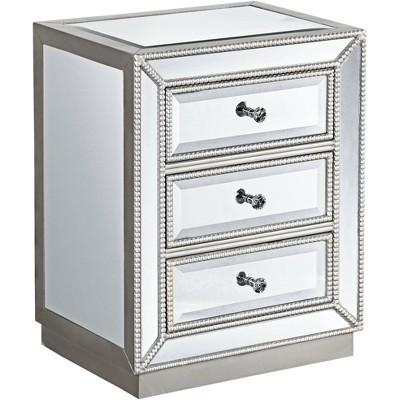 "Coast to Coast Trevi 20"" Wide 3-Drawer Silver Mirrored Accent Table"