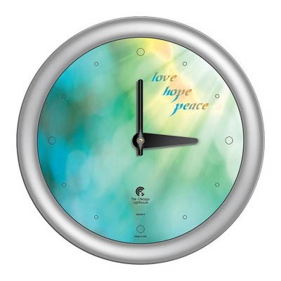 """14"""" x 1.8"""" Peace Love Hope Quartz Movement Decorative Wall Clock Silver Frame - By Chicago Lighthouse"""
