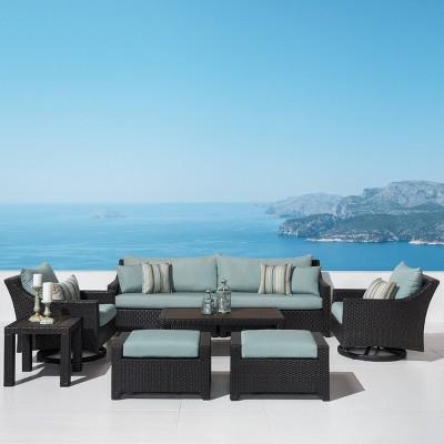 Deco 7pc Sofa & Motion Club Chair Set - Bliss Blue - RST Brands