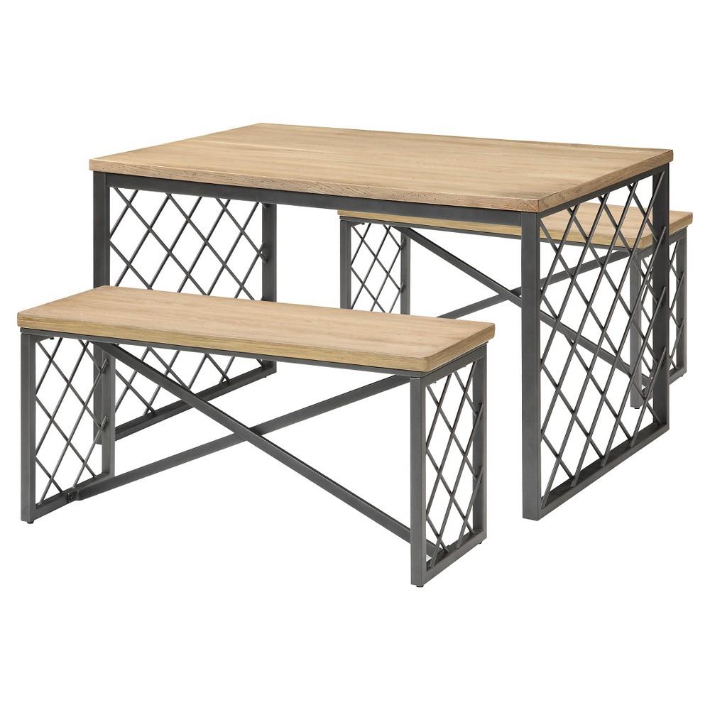 Image of 3pc Catalina Dining Set Oak/Gray - Acme Furniture