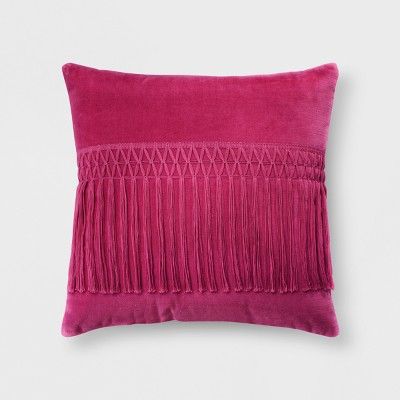 Pink Velvet Fringe Throw Pillow - Opalhouse™