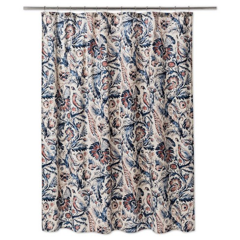 Floral Shower Curtain Xaviery Navy