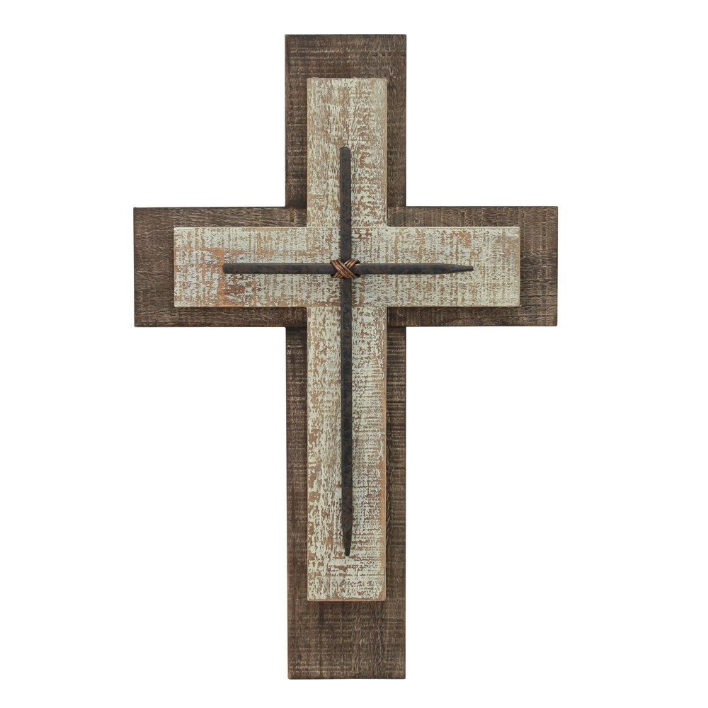 Image of Decorative Wooden Cross Wall Art White/Brown - Stonebriar Collection