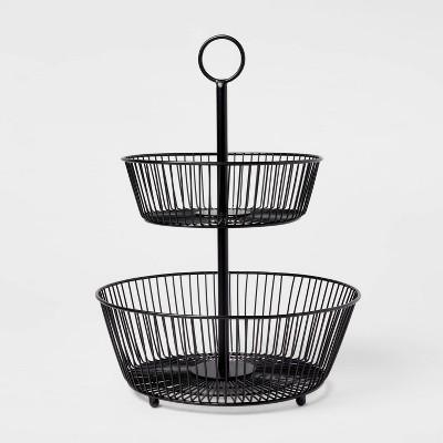 Iron Wire 2-Tier Fruit Basket Black - Threshold™
