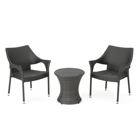 Mirage 3pc Wicker Stacking Chair Chat Set - Christopher Knight Home - image 1 of 4