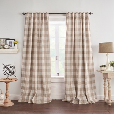 Grainger Buffalo Check Blackout Window Curtain Panel - Elrene Home Fashions