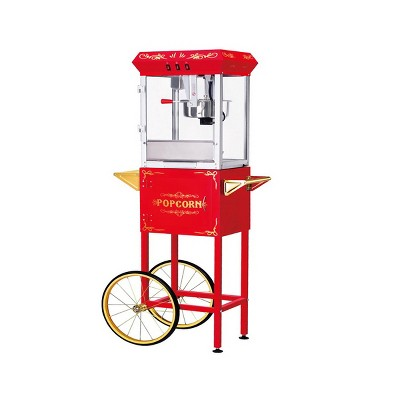 Great Northern Popcorn Foundation Popcorn Machine With Cart - 8 oz. Kettle, Red