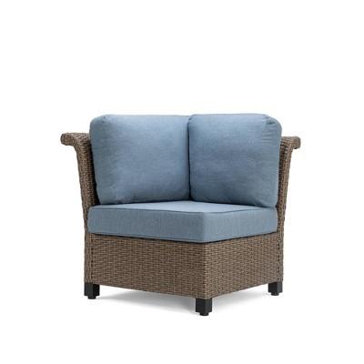 Nolin Cushioned Corner Weathered Brown Frame Sunbrella Spectrum Denim Fabric - La-Z-Boy