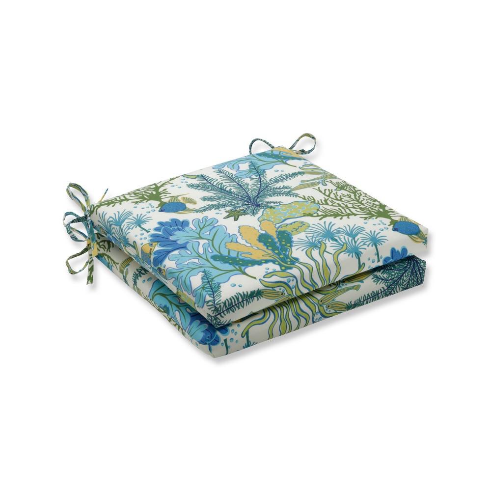 Splish Splash 2pc Indoor/Outdoor Marina Squared Corners Seat Cushion - Pillow Perfect, Blue