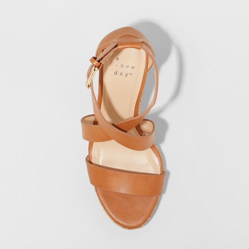 a64aed2849c Women s Cecilia Strappy Cork Wedge Ankle Strap Sandal - A New Day ...